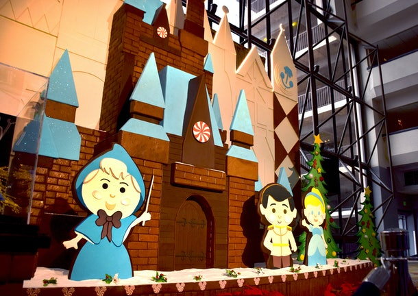 A 'Cinderella'-themed gingerbread house is at Disney's Contemporary Resort during the holiday 2019 season.