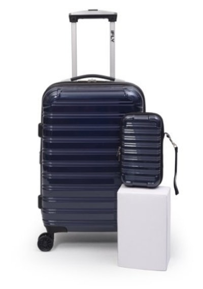 """iFLY Online Exclusive Hard Sided Luggage Fibertech 20"""" & Travel Case"""