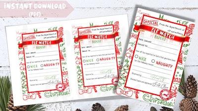 Printable Elf Report Card