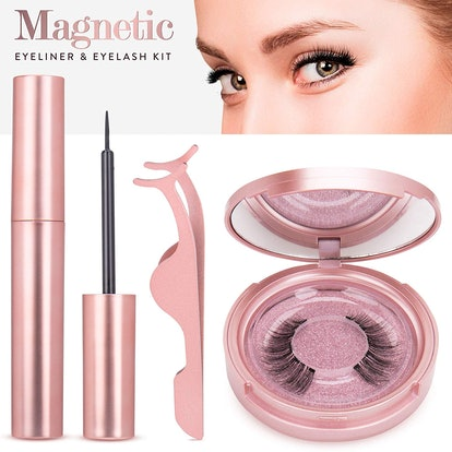 Magnetic Eyelashes with Eyeliner - Magnetic Eyeliner and Magnetic Eyelash Kit - Eyelashes With Natural Look - Comes With Applicator - No Glue Needed