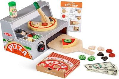 Melissa & Doug Top and Bake Wooden Pizza Counter Play Set