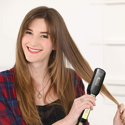 Professional Titanium Flat Iron Hair Straightener with Digital LCD Display, Dual Voltage, Instant Heat Up, 1.75 Inch Wide