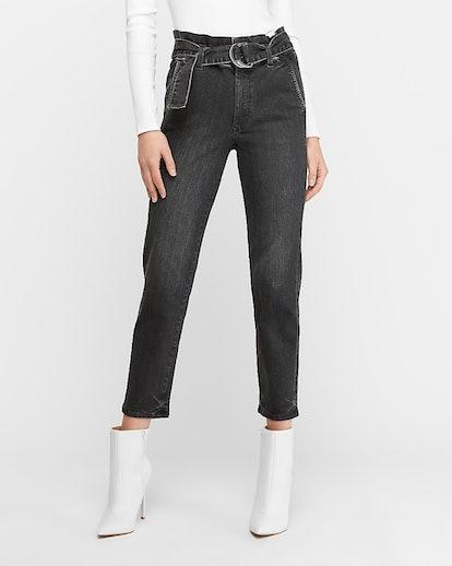 Super High Waisted Black Belted Paperbag Jeans