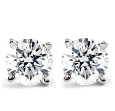 1/4 Carat Genuine Diamond Stud Earrings (I2-I3 Clarity, IJ Color) 14k White Gold