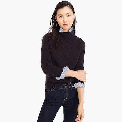 Mockneck Sweater In Super Soft Yarn