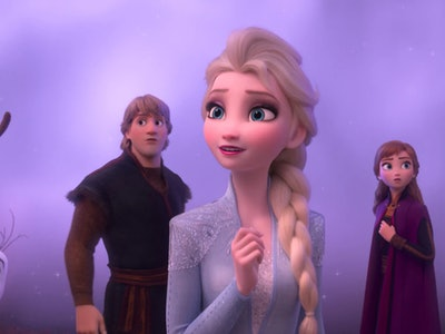 Sven, Olaf, Kristoff, Elsa, and Anna, left to right.