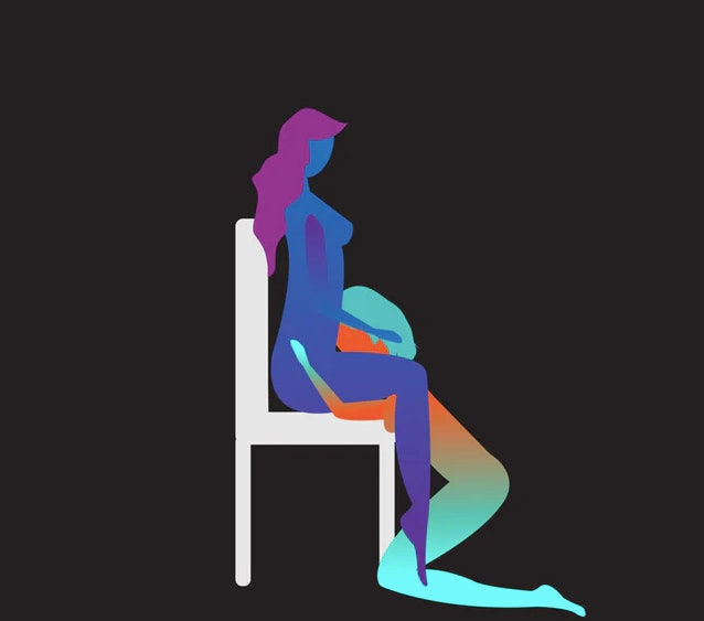 Drawing of a couple in a seat oral sex position for 2020.