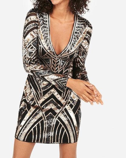 Geometric Sequin Long Sleeve Deep V Mini Bodycon Dress