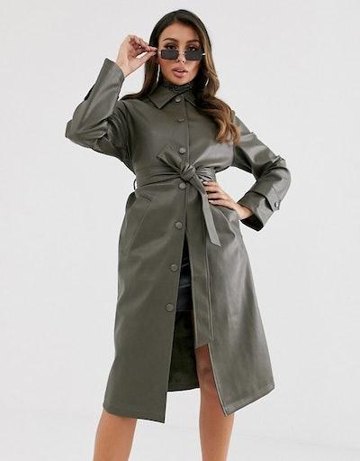 ASOS DESIGN Leather Look Trench Coat in khaki