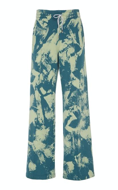 Printed Cotton Wide-Leg Sweatpants