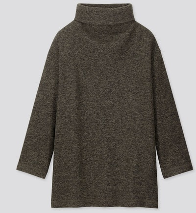 Knitted Fleece High-Neck Long-Sleeve Tunic