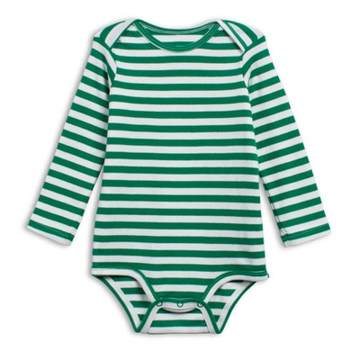 The Long Sleeve Stripe Babysuit in 'Grass'