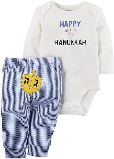 Carter's Baby 2 Piece Long Sleeve Hanukkah Bodysuit and Pants Set