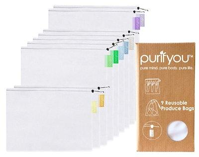 purifyou Reusable Mesh Produce Bags (9-Pack)