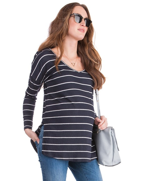 Striped Ribbed Maternity & Nursing Top