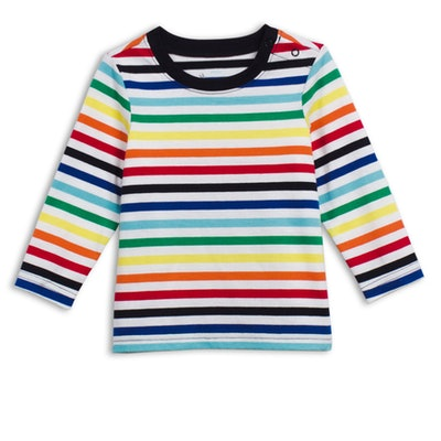 The Baby Stripe Long Sleeve Tee in 'Rainbow Ivory'