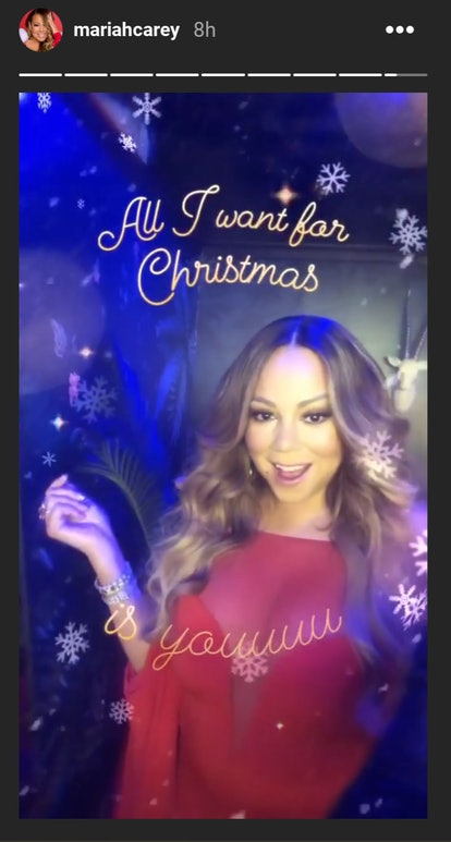 "Screenshot of Mariah Carey using Instagram's new ""All I Want"" filter - Mariah in red outfit, smiling, with the filter framing her"