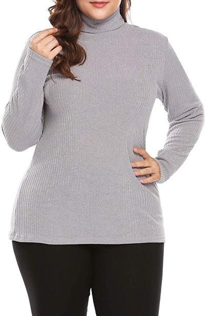 IN'VOLAND Women's Plus Size Sweaters Turtleneck Knit Pullover Sweater