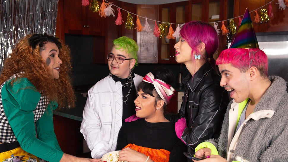 A group of friends of varying genders gossiping. The holidays can be especially difficult when you're trans, but there are holiday survival strategies you can use.