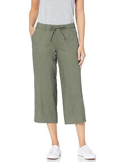 Amazon Essentials Women's Drawstring Linen Crop Pant