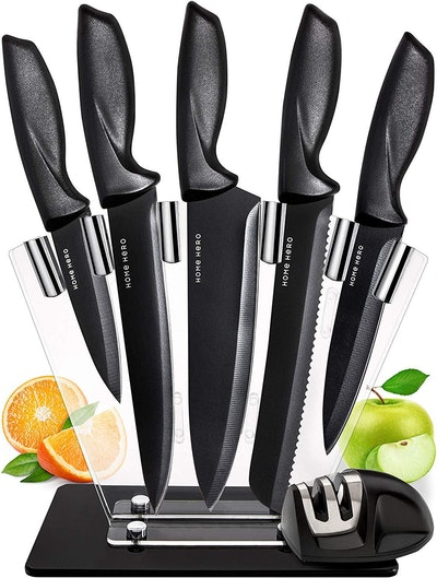 Home Hero Stainless Steel Knife Set with Block (7 Pieces)