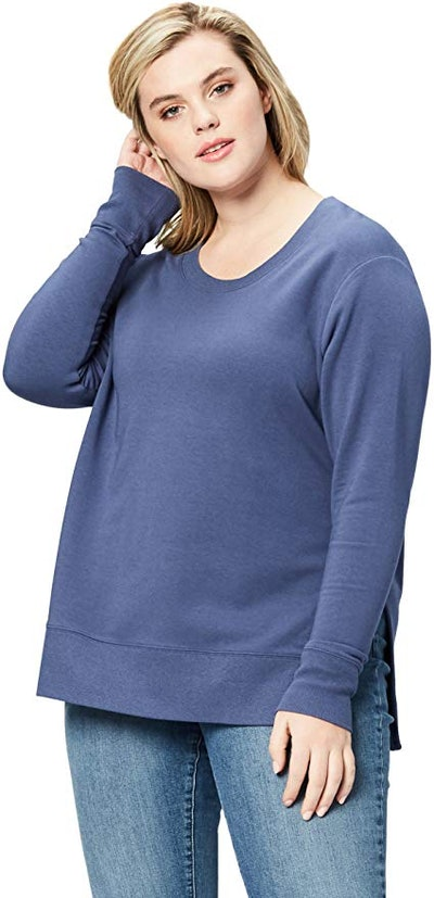 Daily Ritual Women's Plus Size Terry Cotton and Modal Pullover