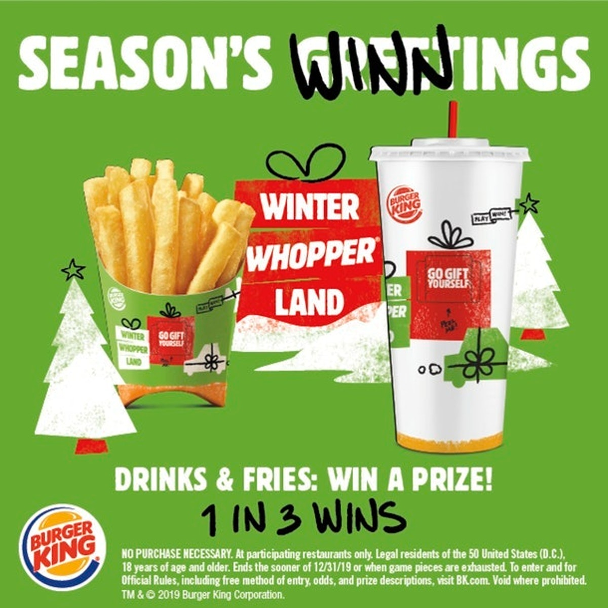 Burger King's Instant Win Winter Whopperland Grand Prize is $35,000, but you can win tons of other prizes if you enter.