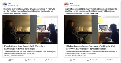 The original news post was identical to the one the right, except for the bolded #MeToo followed by ...