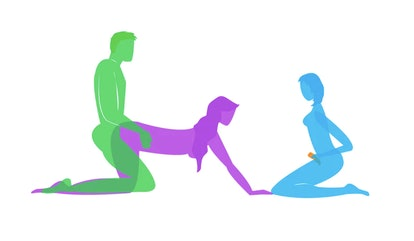 Drawing of threesome voyeur position to try in bed in 2020.