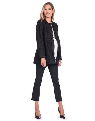 Black Bouclé Maternity Jacket