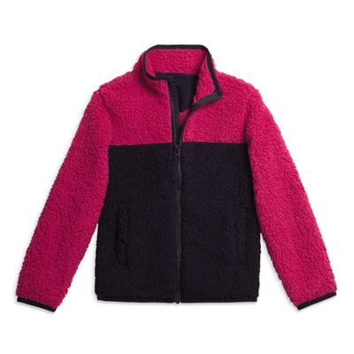 The Cozy Fleece Jacket in 'Navy/Raspberry'