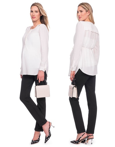 Woven Scalloped Maternity Blouse