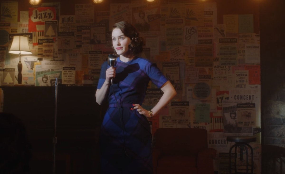 A scene from 'The Marvelous Mrs. Maisel' where Mrs. Maisel does a stand-up routine on stage.