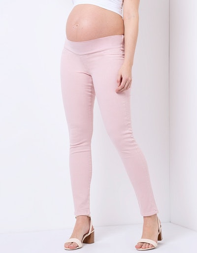 Blush Pink Skinny Maternity Jeans