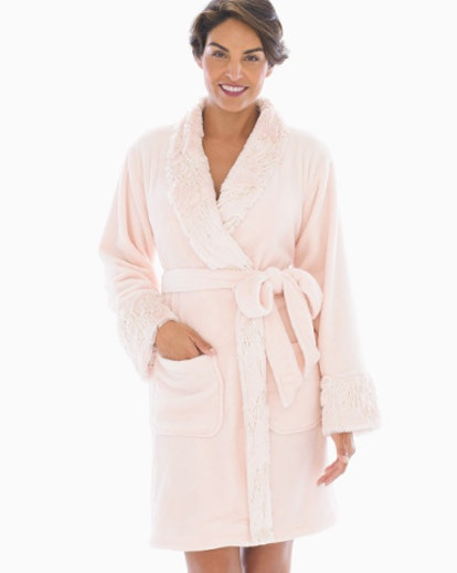 Luxe Sparkle Short Robe Porcelain