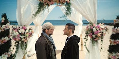 Christian Slater as Mr. Robot and Rami Malek as Elliot Alderson in Mr. Robot