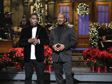 """SATURDAY NIGHT LIVE -- """"Eddie Murphy"""" Episode 1777 -- Pictured: (l-r) Tracy Morgan and host Eddie Murphy during the Monologue on Saturday, December 21, 2019 -- (Photo by: Will Heath/NBC)"""