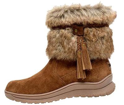 Minnetonka Women's Everett Suede Fur Boot Round Toe