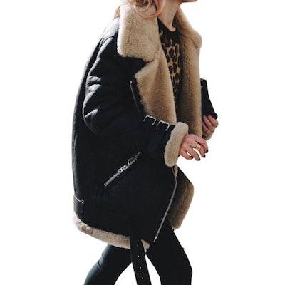 Womens Fleece Fur Biker Aviator Jacket