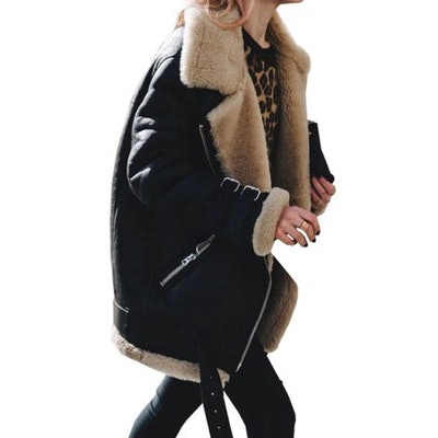 Womens Fleece Fur Biker Aviator Jacket
