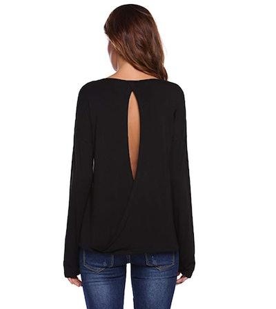 Zeagoo Women's Long Sleeve Backless Blouse