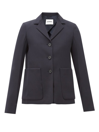 Single-Breasted Patch Pocket Wool Jacket