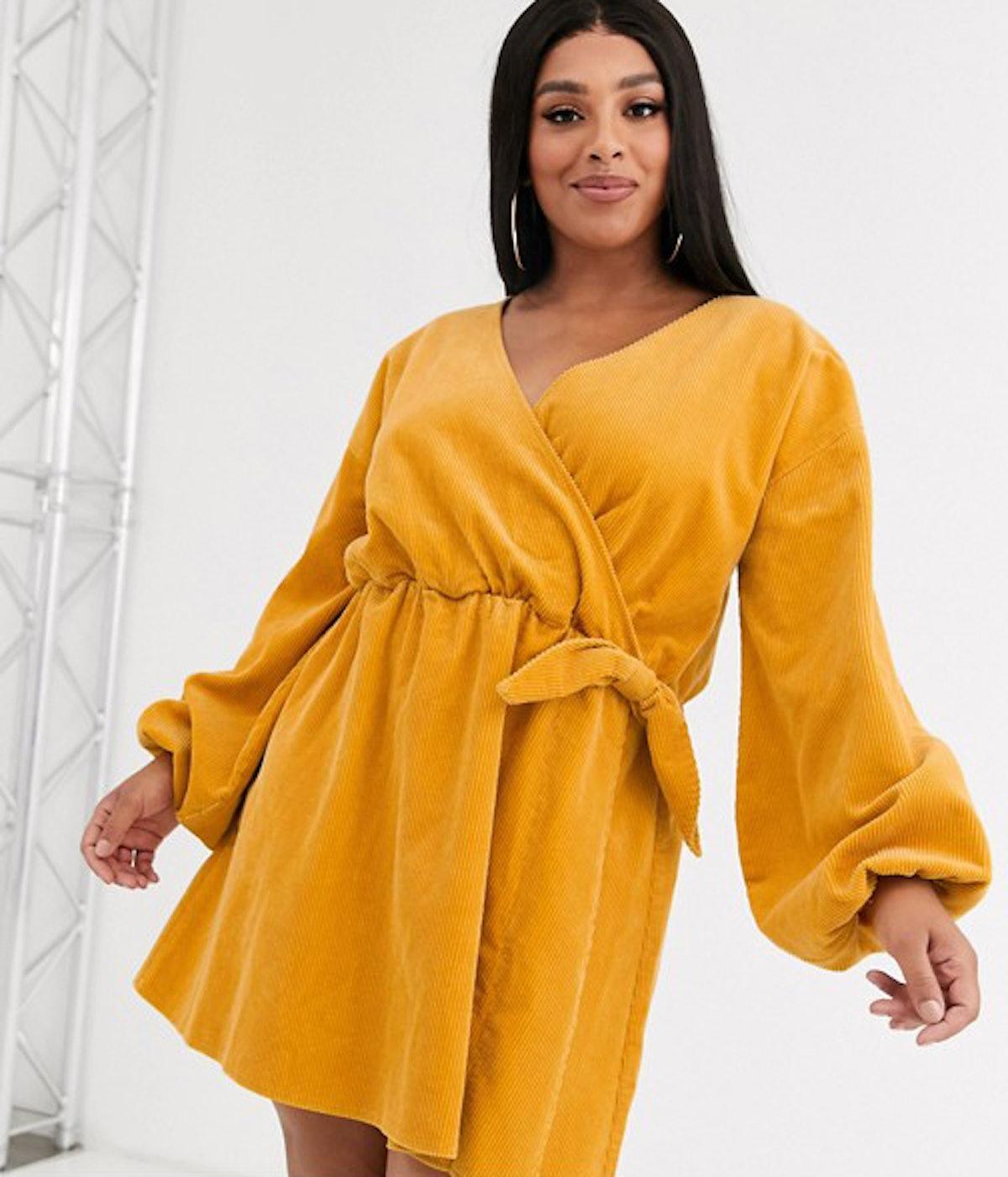 ASOS DESIGN Curve Cord Wrap Smock Mini Dress in Marigold