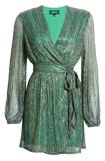 Weila Metallic Stripe Long Sleeve Wrap Dress
