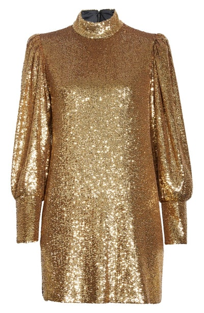 Christy Sequin Long Sleeve Minidress