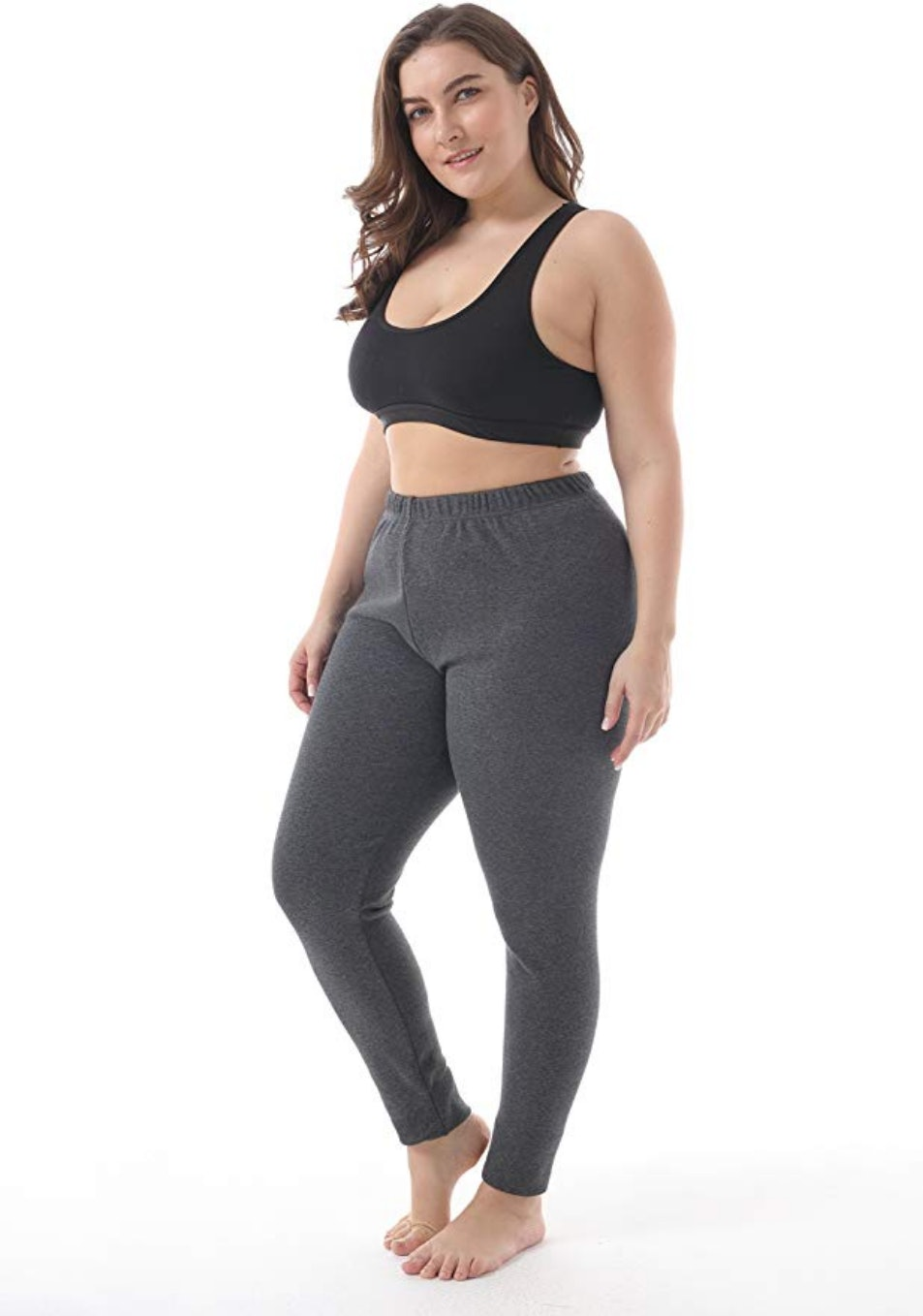 Womens Plus Size Solid Nylon Full Length Leggings Stretch Pants Long