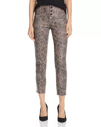 Lillie Coated-Snakeskin-Printed Crop Skinny Jeans in Brown Boa
