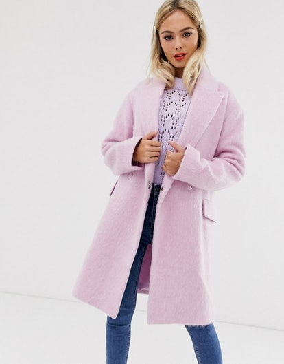 ASOS DESIGN Double Breasted Brushed Coat in Pink