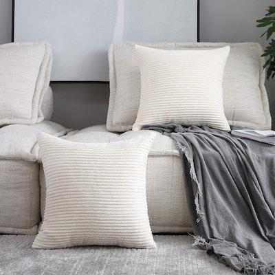 Home Brilliant Striped Corduroy Velvet Pillow Covers (Set Of 2)