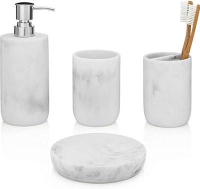 EssentraHome Blanc Collection Bathroom Accessory Set